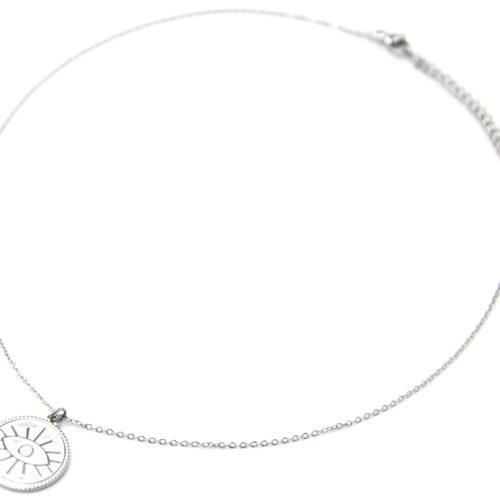 Collier-Pendentif-Medaille-Patinee-Motif-Oeil-Acier-Argente