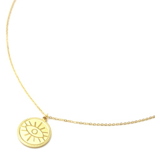 Collier-Pendentif-Medaille-Patinee-Motif-Oeil-Acier-Dore
