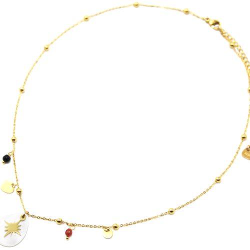 Collier-Chaine-Boules-Pendentif-Goutte-Nacre-Perles-et-Etoile-Polaire-Acier-Dore