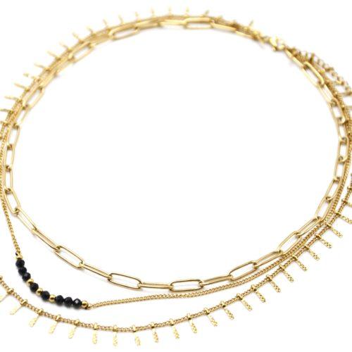 Collier-Triple-Chaines-Maillons-Perles-Noires-et-Pampilles-Carreaux-Acier-Dore