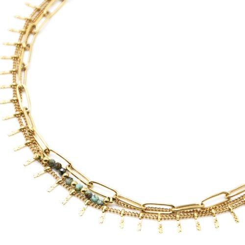 Collier-Triple-Chaines-Maillons-Perles-Vertes-et-Pampilles-Carreaux-Acier-Dore