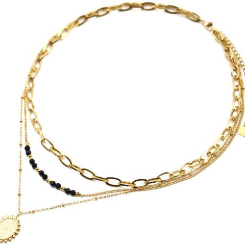 Collier-Triple-Chaines-Maillons-Perles-Noires-et-Medaille-Martelee-Billes-Acier-Dore