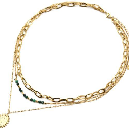 Collier-Triple-Chaines-Maillons-Perles-Vertes-et-Medaille-Martelee-Billes-Acier-Dore