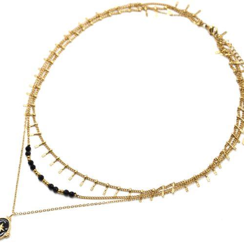 Collier-Triple-Chaines-Pampilles-Carreaux-Perles-et-Ovale-Email-Noir-Etoile-Acier-Dore