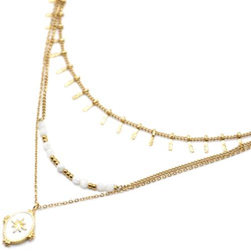 Collier-Triple-Chaines-Pampilles-Carreaux-Perles-et-Ovale-Email-Blanc-Etoile-Acier-Dore