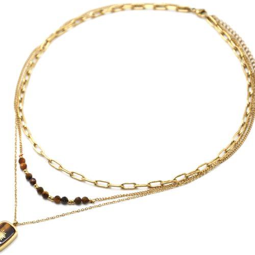 Collier-Triple-Chaines-Maillons-Perles-et-Pierre-Marron-Soleil-Acier-Dore