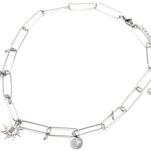 Collier-Chaine-Maillons-avec-Soleil-Pierre-Grise-et-Medaille-Etoile-Acier-Argente