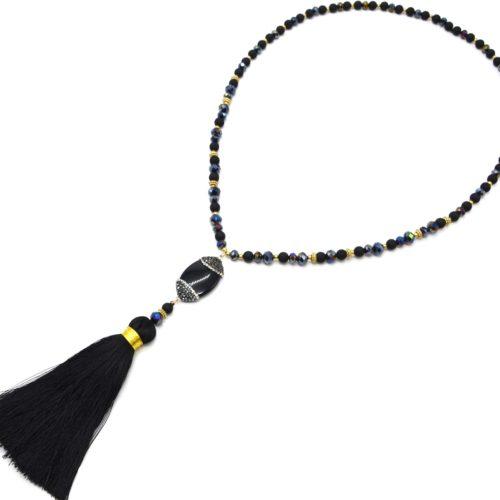 Sautoir-Collier-Perles-Resine-et-Brillantes-avec-Ovale-Strass-et-Pompon-Noir