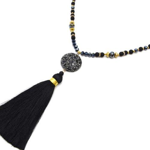 Sautoir-Collier-Perles-Resine-et-Brillantes-avec-Cercle-Pierres-Strass-et-Pompon-Noir