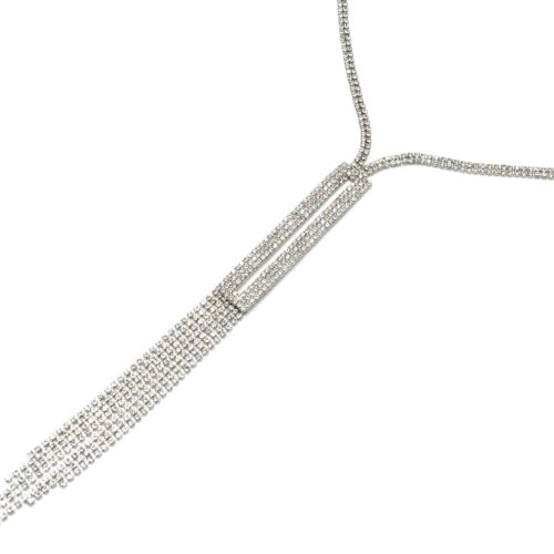 Sautoir-Collier-Pendentif-Y-Rectangle-Bande-Strass-Metal-Argente-et-Multi-Chaines