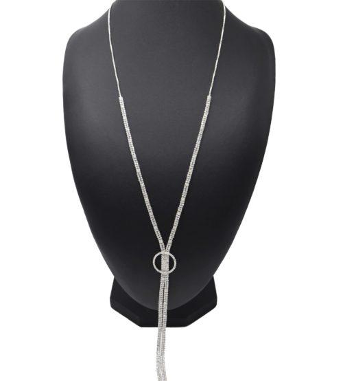 Sautoir-Collier-Pendentif-Y-Cercle-Strass-Metal-Argente-et-Double-Chaines