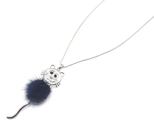 Sautoir-Collier-Pendentif-Chat-Metal-Argente-avec-Pompon-Bleu-Nuit