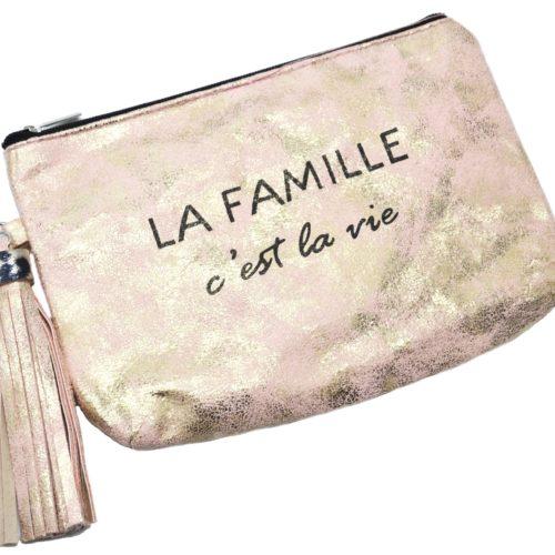 Trousse-Pochette-Effet-Brillant-Message-La-Famille-cest-la-vie-Pompon-Rose