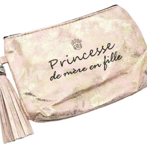 Trousse-Pochette-Effet-Brillant-Message-Princesse-de-mere-en-fille-Pompon-Rose