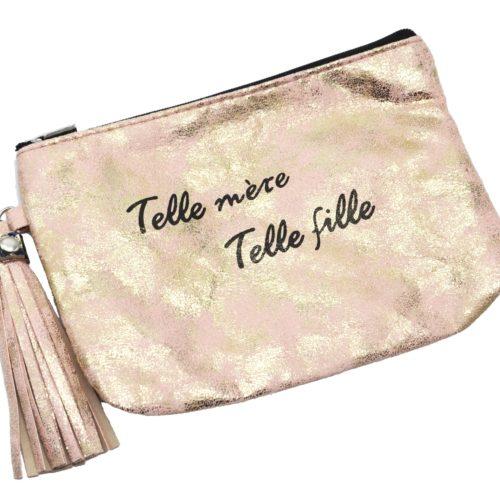 Trousse-Pochette-Effet-Brillant-Message-Telle-mere-Telle-fille-Pompon-Rose