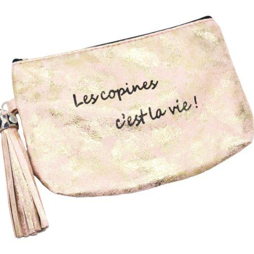 Trousse-Pochette-Effet-Brillant-Message-Les-copines-cest-la-vie-Pompon-Rose