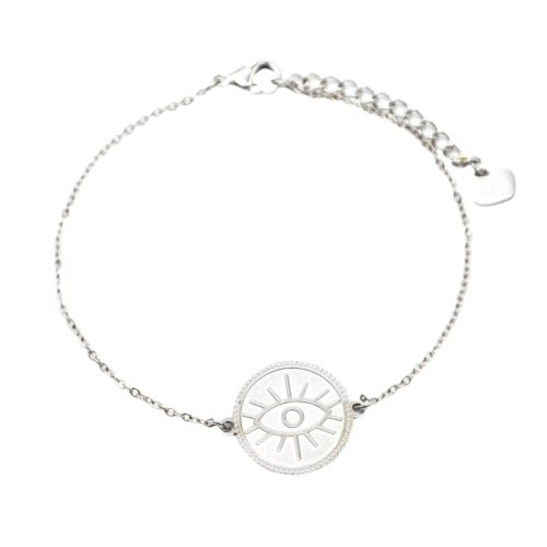 Bracelet-avec-Medaille-Patinee-Motif-Oeil-Acier-Argente