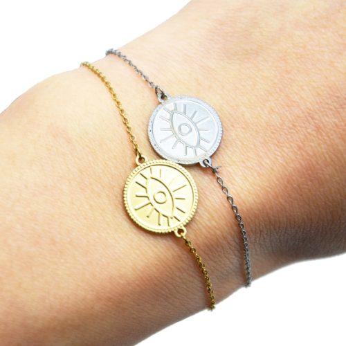 Bracelet-avec-Medaille-Patinee-Motif-Oeil-Acier