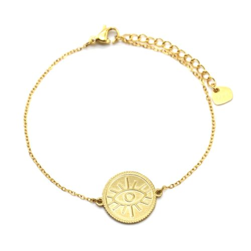Bracelet-avec-Medaille-Patinee-Motif-Oeil-Acier-Dore