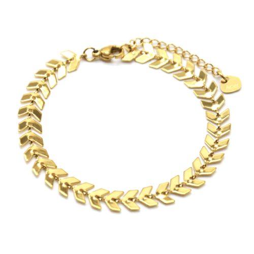 Bracelet-Chaine-avec-Multi-Chevrons-Acier-Dore