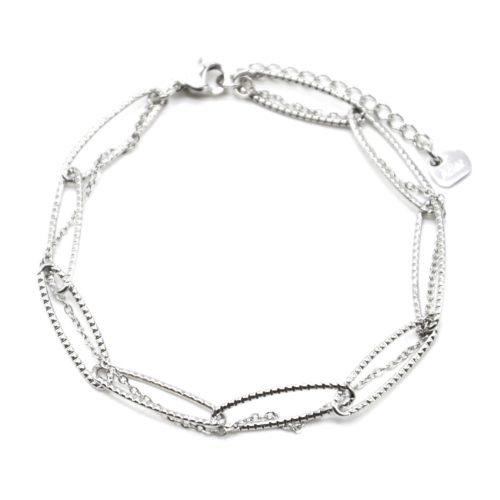 Bracelet-Double-avec-Maillons-et-Fine-Chaine-Acier-Argente