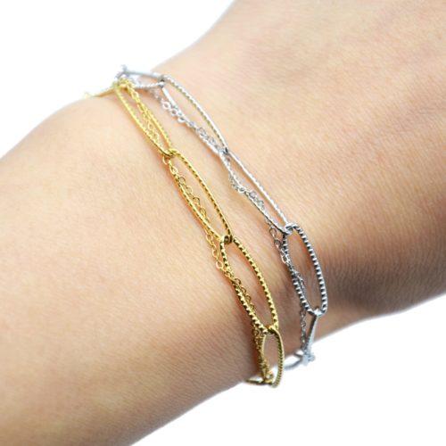Bracelet-Double-avec-Maillons-et-Fine-Chaine-Acier