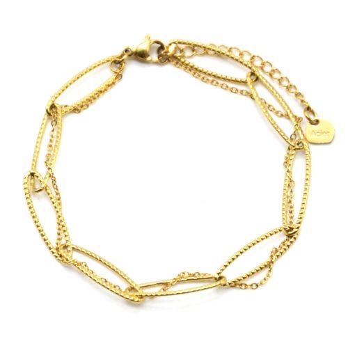 Bracelet-Double-avec-Maillons-et-Fine-Chaine-Acier-Dore