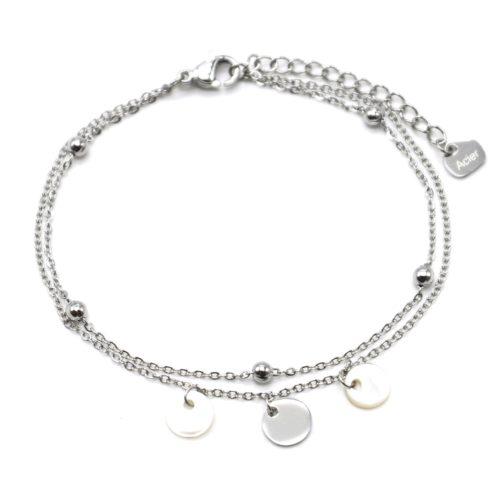 Bracelet-Double-Chaines-avec-Billes-Pampilles-Acier-Argente-et-Nacre