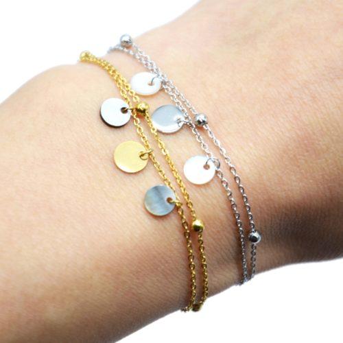 Bracelet-Double-Chaines-avec-Billes-Pampilles-Acier-et-Nacre