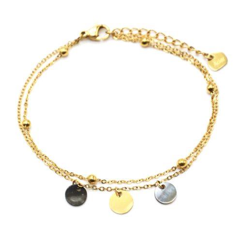 Bracelet-Double-Chaines-avec-Billes-Pampilles-Acier-Dore-et-Nacre