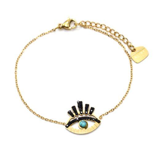 Bracelet-avec-Oeil-Ajoure-Acier-Dore-Cils-Strass-Noir-et-Pierre-Turquoise