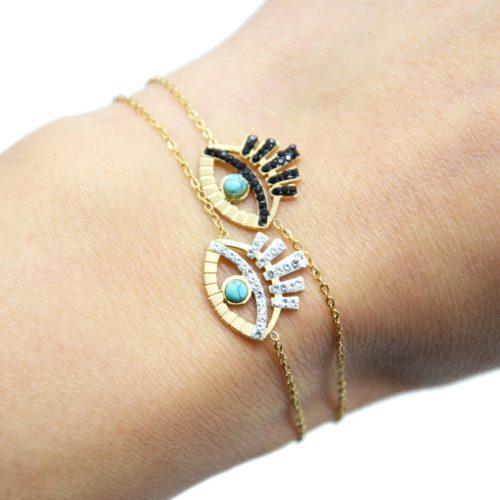 Bracelet-avec-Oeil-Ajoure-Acier-Dore-Cils-Strass-et-Pierre-Turquoise