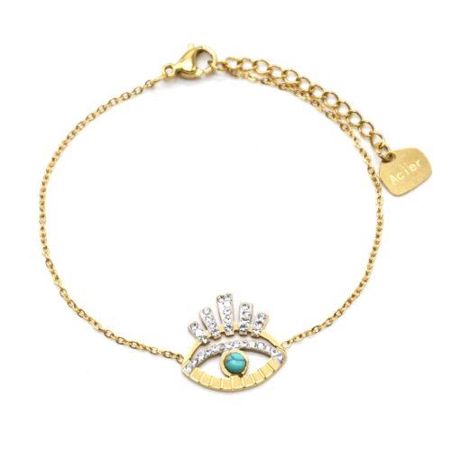 Bracelet-avec-Oeil-Ajoure-Acier-Dore-Cils-Strass-Blanc-et-Pierre-Turquoise