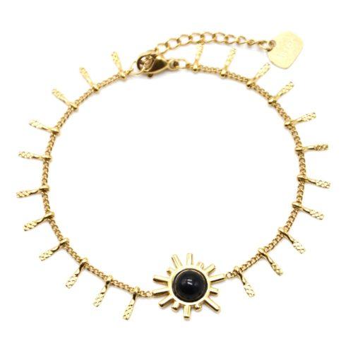 Bracelet-avec-Pampilles-Relief-Carreaux-Acier-Dore-et-Soleil-Pierre-Noire