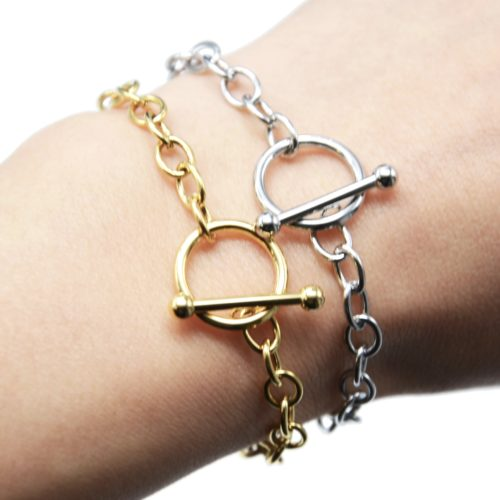 Bracelet-Chaine-Gros-Maillons-avec-Fermoir-Cercle-et-Barre-Acier