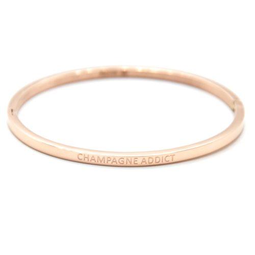 Bracelet-Jonc-Fin-Acier-Or-Rose-avec-Message-Champagne-Addict