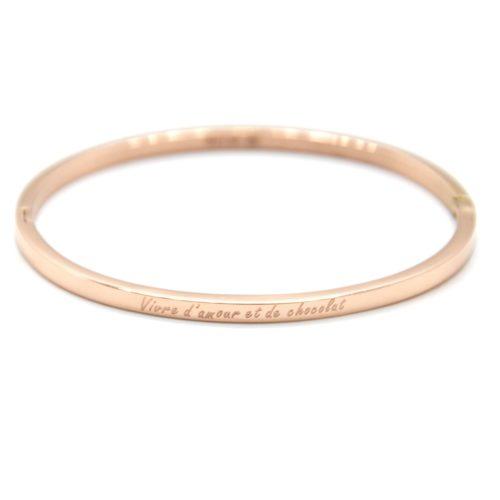 Bracelet-Jonc-Fin-Acier-Or-Rose-avec-Message-Vivre-damour-et-de-chocolat