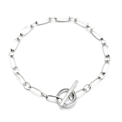 Bracelet-Chaine-Maillons-avec-Fermoir-Cercle-et-Barre-Acier-Argente