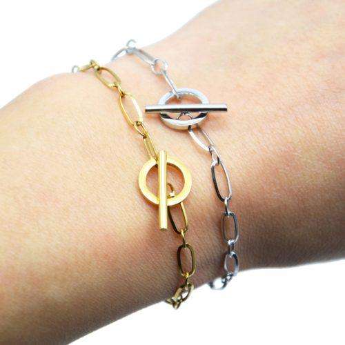 Bracelet-Chaine-Maillons-avec-Fermoir-Cercle-et-Barre-Acier