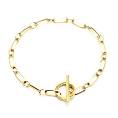 Bracelet-Chaine-Maillons-avec-Fermoir-Cercle-et-Barre-Acier-Dore