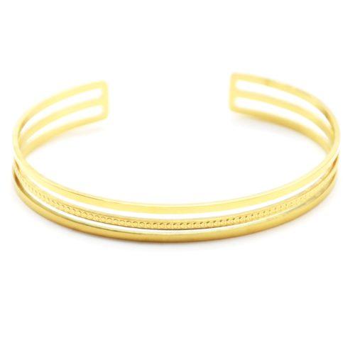 Bracelet-Jonc-Ajoure-avec-Triple-Rangs-Acier-Dore-et-Points
