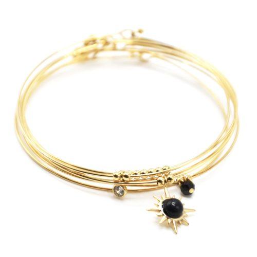 Bracelet-Semainier-Multi-Joncs-Acier-Dore-avec-Billes-Etoile-Polaire-et-Perles-Noires
