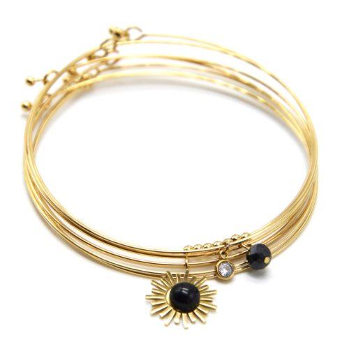 Bracelet-Semainier-Multi-Joncs-Acier-Dore-avec-Billes-Soleil-et-Perles-Noires