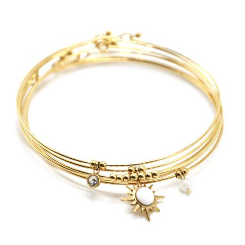 Bracelet-Semainier-Multi-Joncs-Acier-Dore-avec-Billes-Etoile-Polaire-et-Perles-Blanches