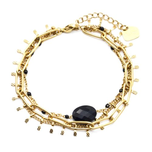 Bracelet-Triple-avec-Maillons-Pampilles-Acier-Dore-Mini-Perles-et-Pierre-Noire