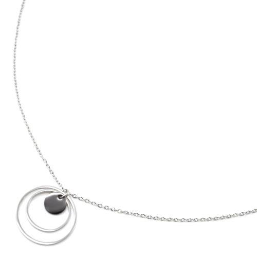 Collier-Pendentif-Double-Cercles-Acier-Argente-et-Pampille-Resine-Noire