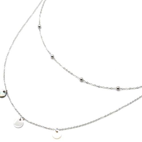 Collier-Double-Chaines-avec-Billes-Pampilles-Acier-Argente-et-Nacre