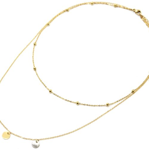 Collier-Double-Chaines-avec-Billes-Pampilles-Acier-Dore-et-Nacre