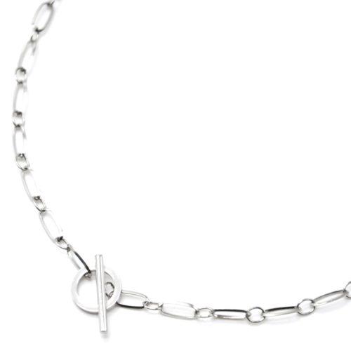 Collier-Chaine-Maillons-Rectangles-avec-Fermoir-Cercle-et-Barre-Acier-Argente