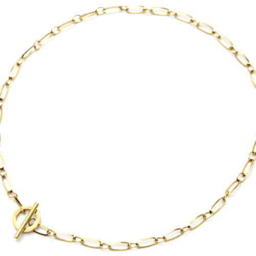 Collier-Chaine-Maillons-Rectangles-avec-Fermoir-Cercle-et-Barre-Acier-Dore